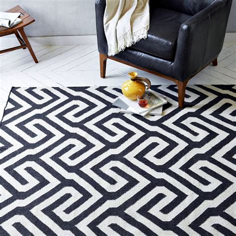 black and white wool rug boom bust monochrome graphic rug