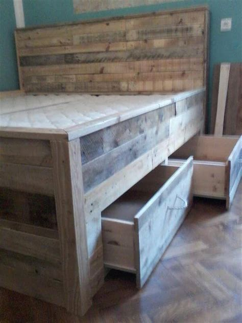 how to make a bed out of pallets pallet bed tutorial built in drawers under the bed 101
