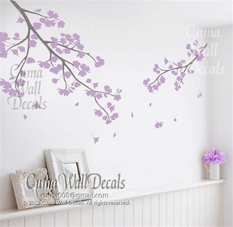Cherry Blossom Wall Decal For Nursery Lilac Cherry Blossom Wall Decals Vinyl Floral Wall Sticker Tree Nursery Wall Mural Children