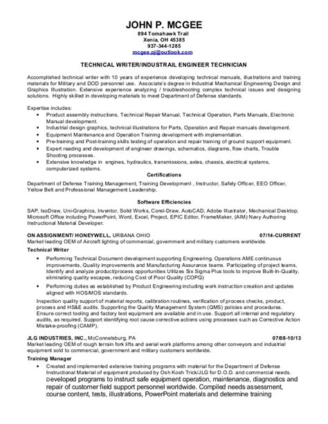 technical writing resume mcgee resume technical writer