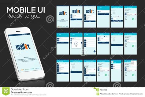 online layout mobile ui ux and gui for online money transfer stock