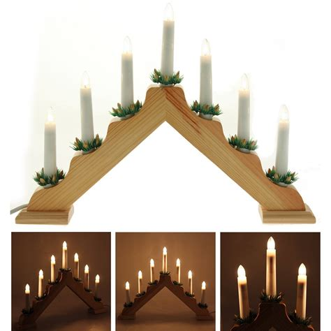 wooden candle bridge light 7 bulb window mantlepiece