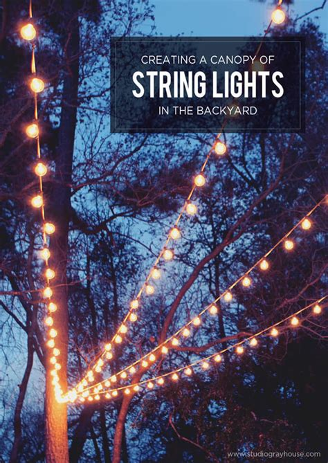 A Canopy Of String Lights In Our Backyard Gray House Studio How To String Lights On A Tree
