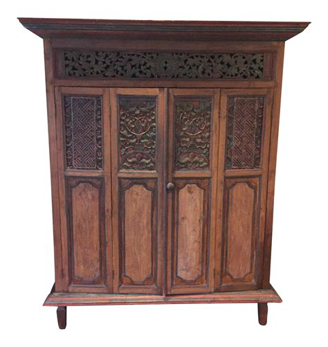 indonesian armoire indonesian teak painted armoire chairish
