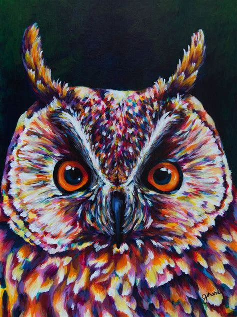 great acrylic paint great horned owl acrylic painting by claudelle on etsy