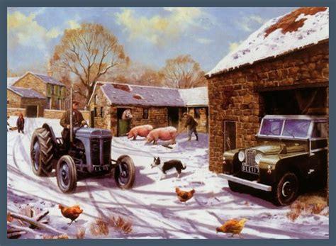 christmas   fergie nostalgic farm scene christmas card ferguson tractor  kevin walsh