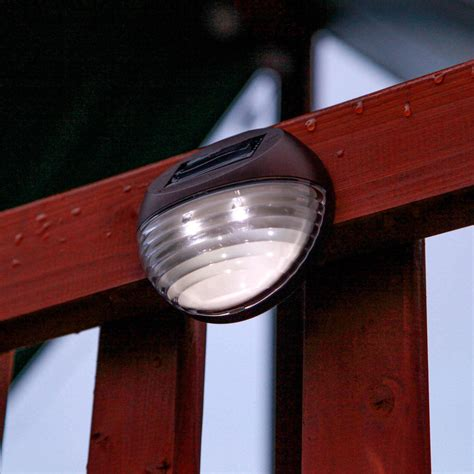 solar fence lighting lights solar lighting landscape brown solar