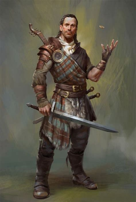 scottish warrior bard from the bard s tale iv character design