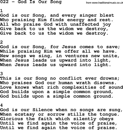 Pdf Theyre Our Song Soundtrack by Adventist Hymnal Song 022 God Is Our Song With Lyrics