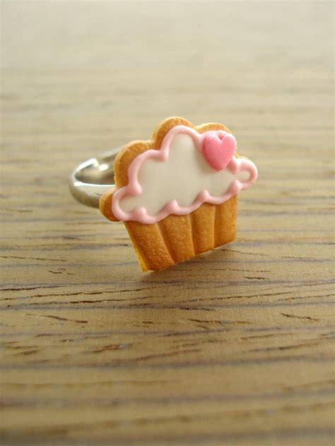 Clay Bow 17 cupcake cookie ring pink to polymers bow cupcakes and polymer clay ring