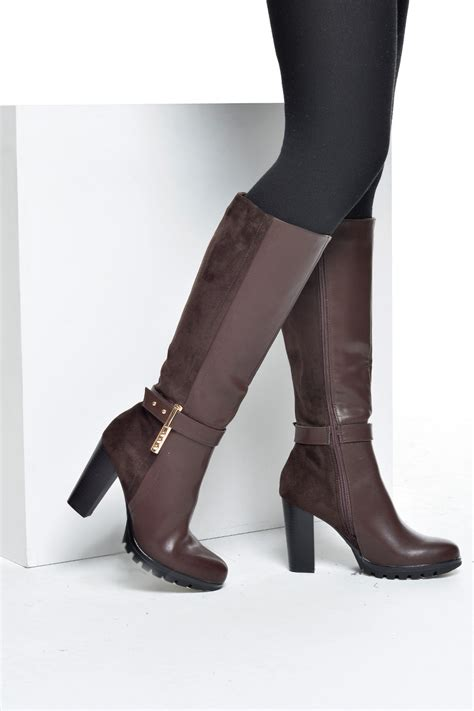 c m harriet mixed high heel boots in brown iclothing