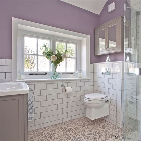 Lilac and white bathroom makeover with metro tiles and shower