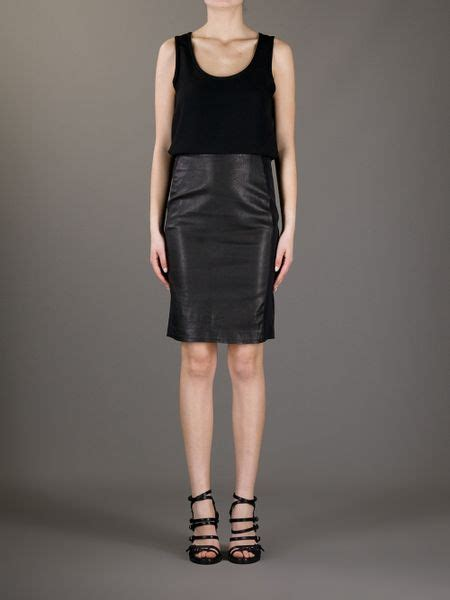 theory leather skirt in black lyst