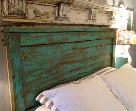 distressed full size headboard turquoise full size