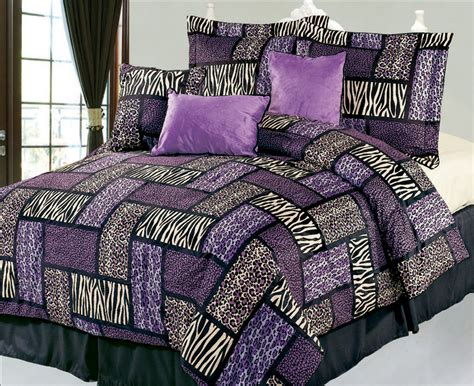 Patchwork Comforter Sets - 7pcs king safari purple and black patchwork micro suede