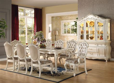 chantelle dining table pearl  acme