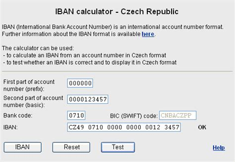 calculator iban how to enter an account number into the calculator czech