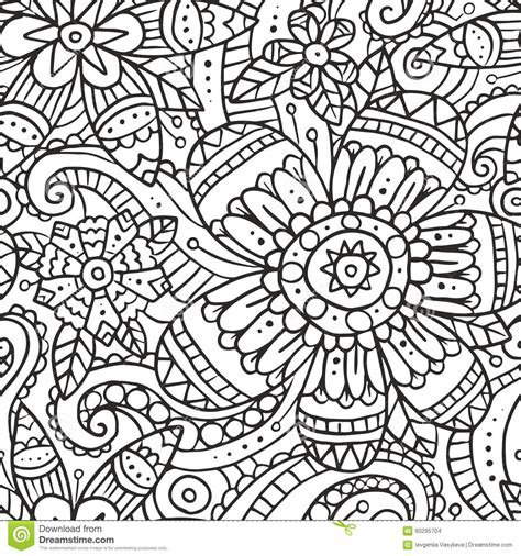 doodle pattern black and white seamless pattern with doodle flowers in black and white