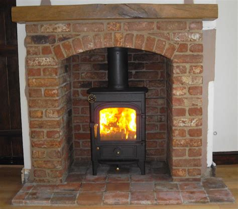 Fireplace With Wood Burner by Clearview Pioneer Wood Burning Stove With Brick Arch And