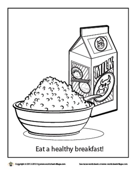 Eat A Healthy Breakfast Coloring Page Breakfast Coloring Page