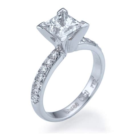 3 ct princess cut engagement ring 14k white gold