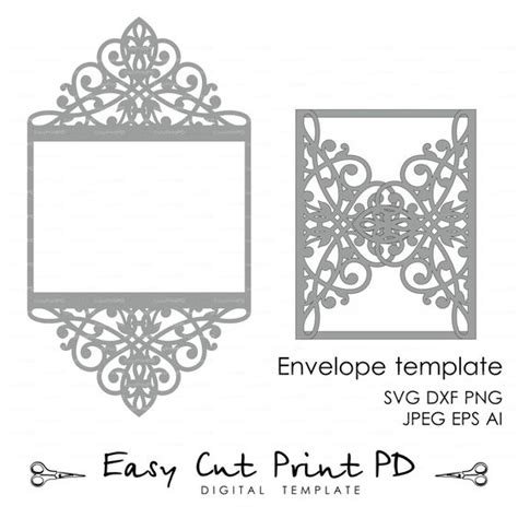 Silhouette Cameo Card Templates wedding invitation pattern card template lace folds