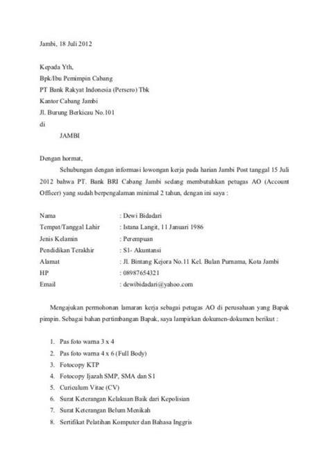 100 contoh surat lamaran bank posisi contoh surat