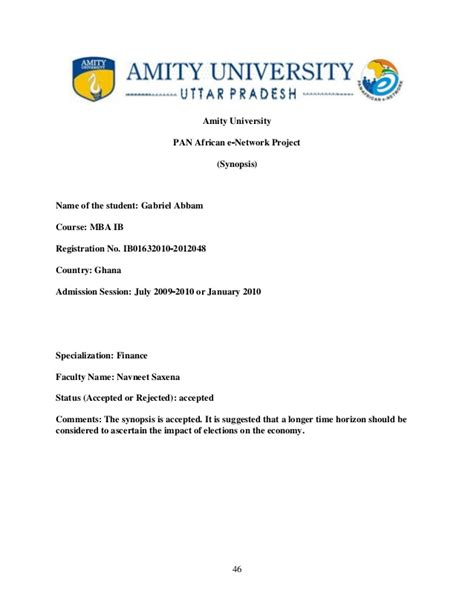 Amity Mba Project Synopsis by A Study Of The Stock Market Performance Before And