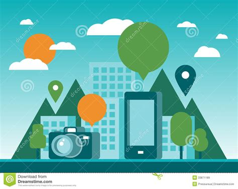 tourism and mobility city illustration royalty free stock