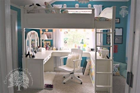 wonderful Cool Beds For Teenage Girl #2: girls-white-loft-bed-with-desk.jpg