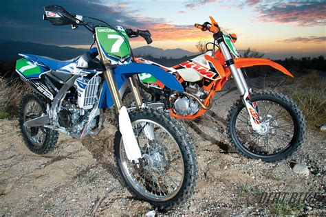 off road motocross bikes for off road shootout ktm 250xcf vs yamaha yz250fx dirt