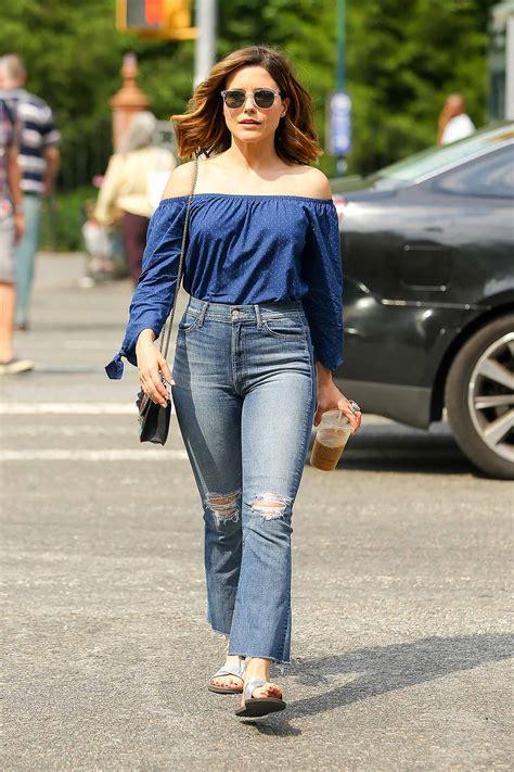 Sophia Bush Wears MOTHER Hustler Ankle Fray Jeans   The Jeans Blog