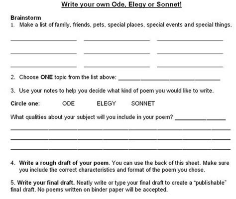 ode lesson plan template 5 possible poetry study j f ross grade 9 academic class