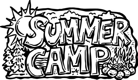 summer camp text coloring page wecoloringpage