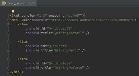 fungsi layout pada android menerapkan context menu di listview pada android