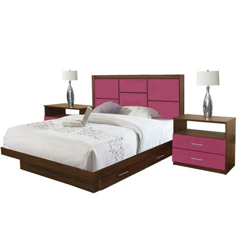 King Platform Bed Set Uptown King Size Bedroom Set W Storage Platform Contempo Space