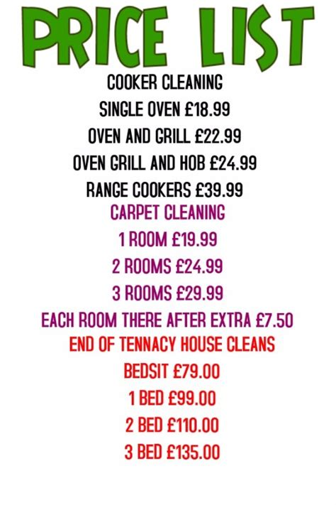 carpet cleaning services prices 28 images price list