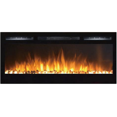 Electric Fireplace 36 Inch by 36 Inch Pebbles Recessed Wall Mounted Electric