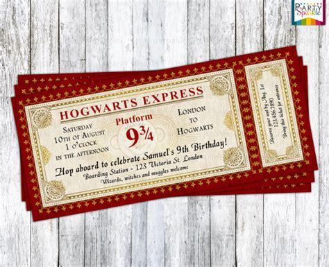 hogwarts express ticket invitation harry potter birthday