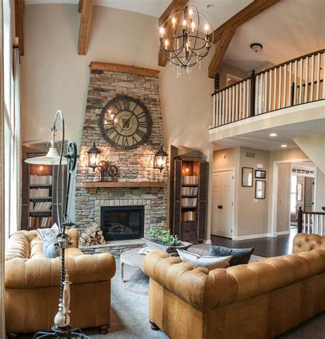 home design story move rooms soaring two story family room with very large wall clock