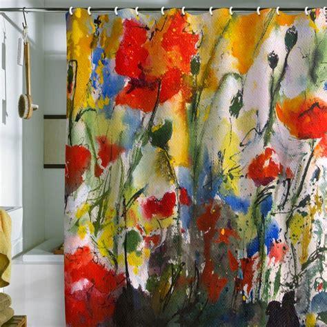 fine art shower curtain ginette fine art wildflowers poppies 1 shower curtain
