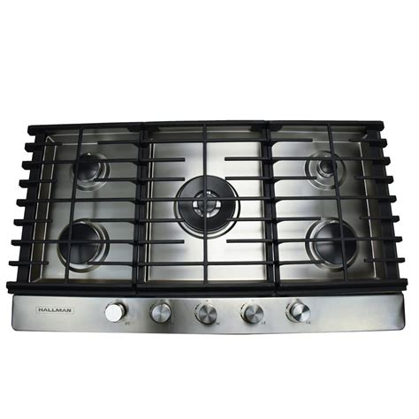 Gas Cooktop 5 Burner by Hallman 36 In Gas Cooktop In Stainless Steel With 5