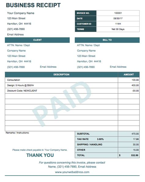Business Payment Receipt Template 13 free business receipt templates smartsheet