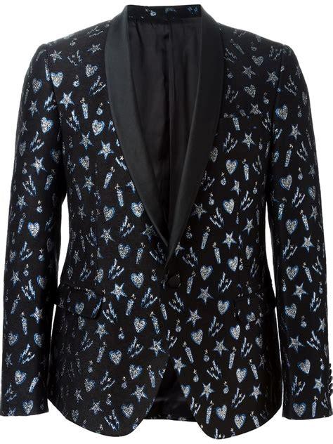 patterned dinner shirt msgm patterned dinner suit jacket in black for men lyst