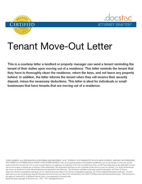 Move Out Letter To Landlord Sle best photos of template of assigned to tenant tenant rental agreement template landlord