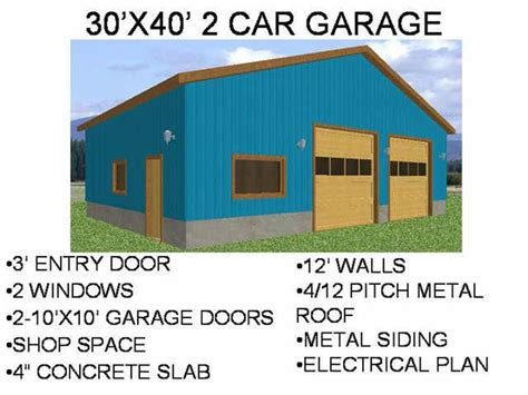 garage workshop plans 30 x 40 2 car garage workshop sdsplans