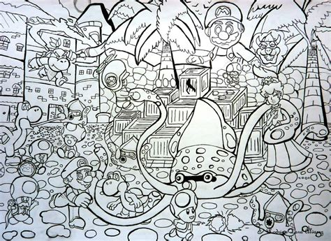 mario sunshine coloring pages super mario sunshine the big blooper by