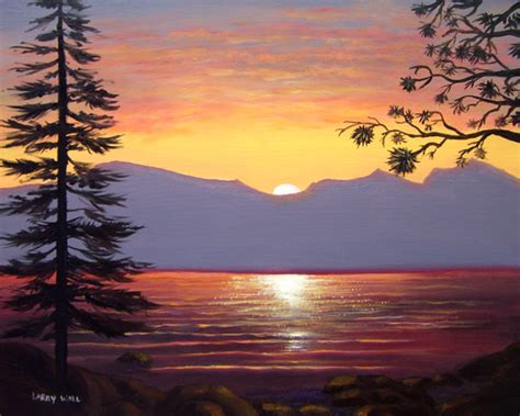 Surf Wall Mural lake tahoe sunset 16 x 20 oil painting