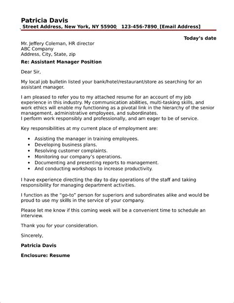 how to write a cover letter for manager position personal assistant cover letter sle