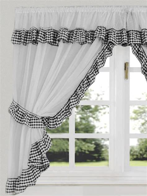 gingham check black white kitchen curtain curtains uk